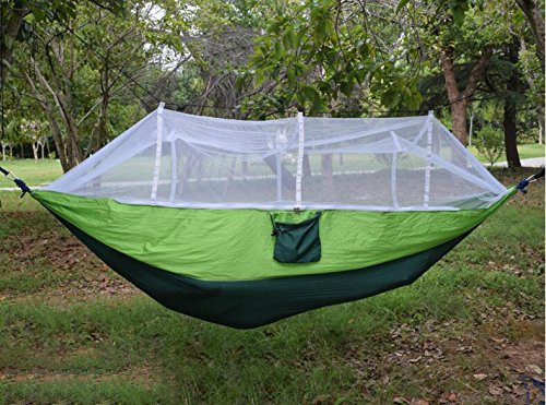 vinmax Camping Hammock with Mosquito Net Outdoor Hanging Bed Tent Portable Parachute Fabric Sleeping Hammock Cot Bed for Backpacking, Hiking, Traveling, Backyard, Relaxation (Green)