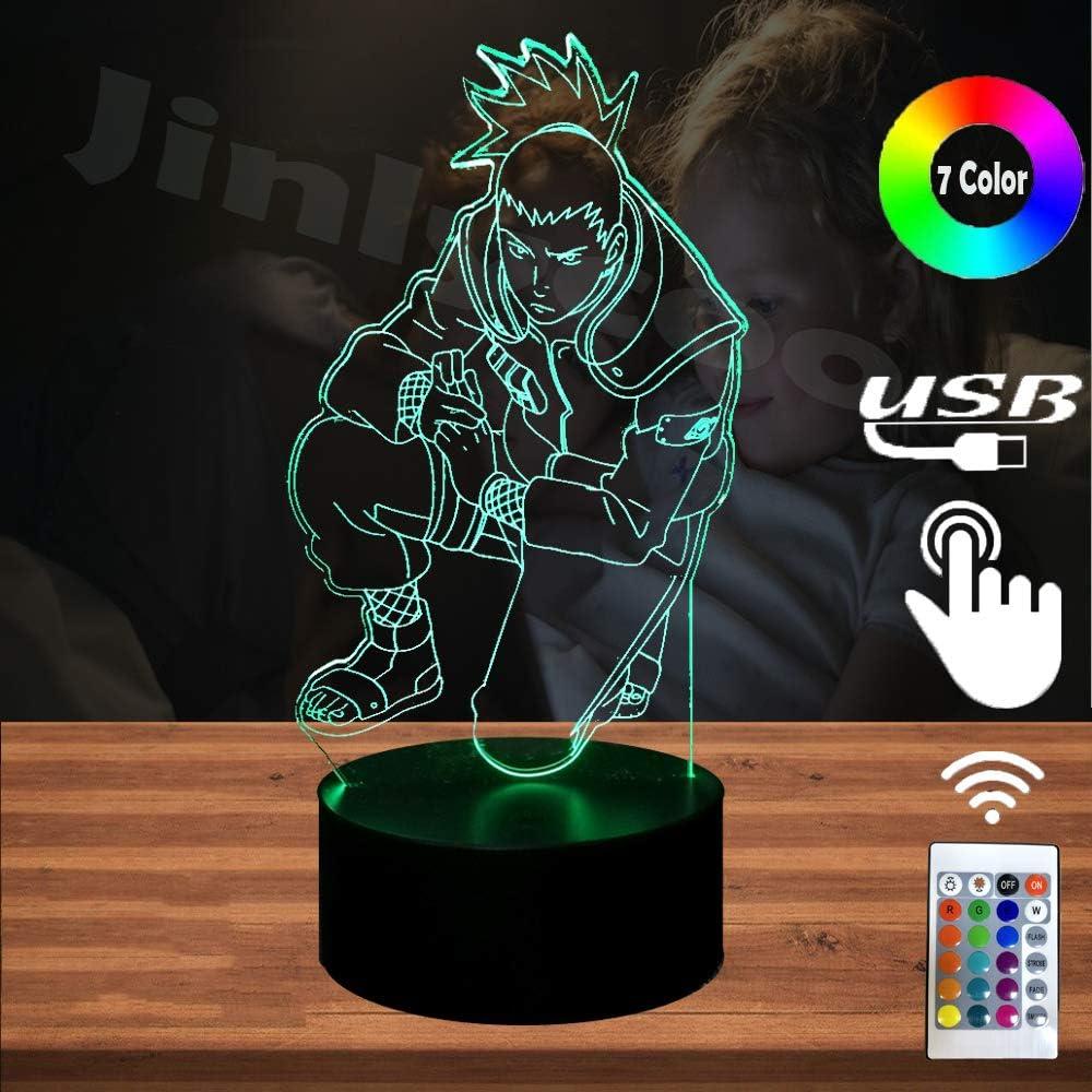 Naruto LED Lamp for Boy Room Japan Anime Action Cartoon Sasuke Nara Shikamaru Night Light 3D Optical Illusion 7 Color Change Decor Home Lighting Holiday Light Gift for Teenage Adult Kid Gift