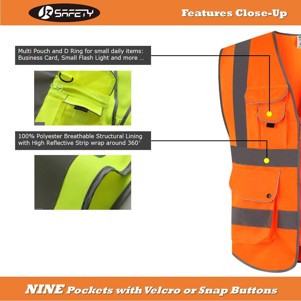 XX-Large JKSafety Nueve bolsillos Nivel 2 Uniforme trabajo Chaleco con cremallera-Chaleco reflectante fluorescente-Chaleco de segurida Rosa