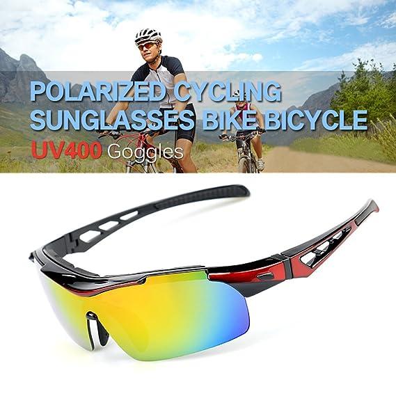 e6e3d70f889 Amazon.com   Lixada Polarized Cycling Sunglasses Bike Bicycle UV400 Goggles  Sports Driving Motorcycling Fishing Skating Traveling Eyewear Glasses with  5 ...