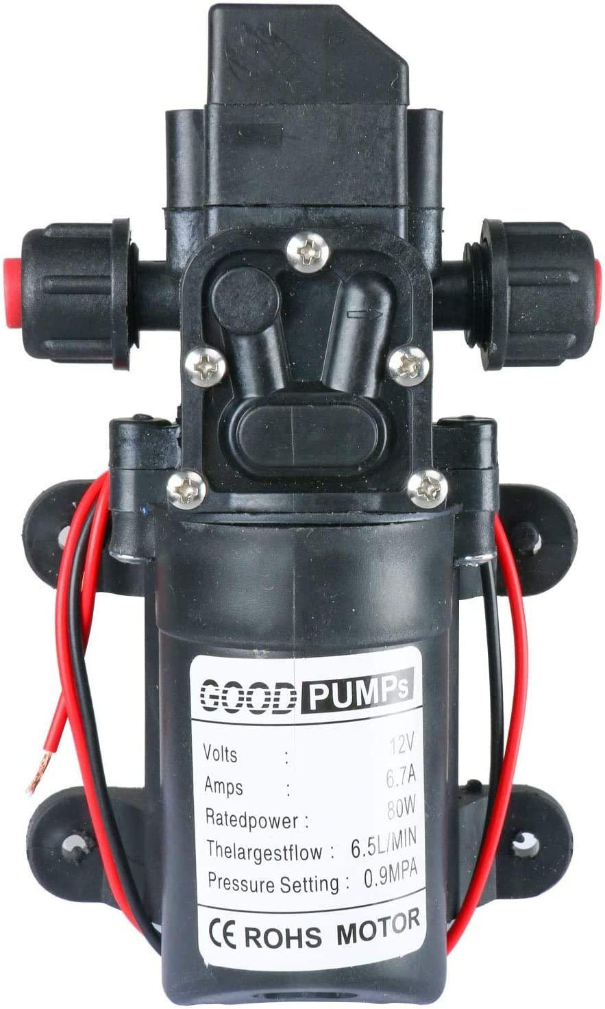 Amarine Made 12V Wasserdruckmembranpumpe 6,5 l//min 1,7 GPM 80W selbstansaugende RV Booster Spr/ühpumpe Mikropumpe para caravanas RV//barco marino