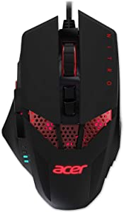 Acer Nitro Gaming Mouse – Customizable Weight to Maximize Your Gameplay, 8 Buttons and 6 Adjustable DPI Lighting, Black (NMW810)