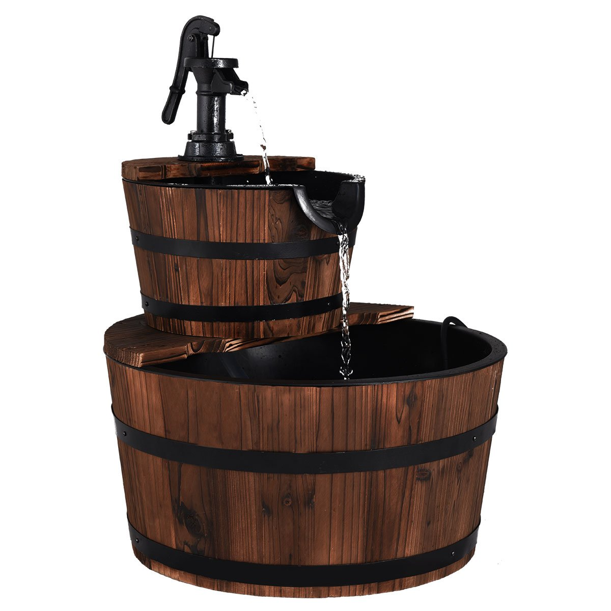 Giantex 2 Tier Barrel Waterfall Fountain Rustic Wood Barrel Water Fountain w/Pump Outdoor Garden