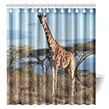 CTIGERS Wild Animal Shower Curtain for Kids Afirca Giraffe Polyester Fabric Bathroom Decoration 66 x 72 Inch