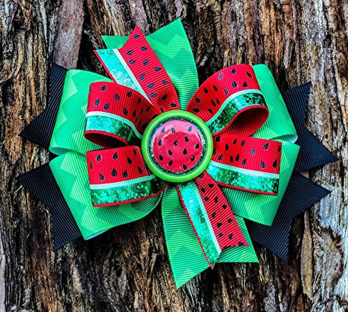 Watermelon Bow - Watermelon hairbow - Girls Bow - Girls Hairbow - Toddler Bow - Kids Hairbow - Fruit Bow - One in a Melon - fruit bow - watermelon birthday - watermelon hair bow - red watermelon bow - ()