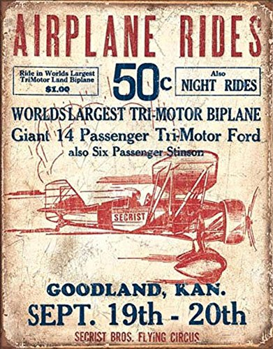 Tin Flying Sign (Secrist Flying Circus - Airplane Rides Tin Sign 13 x 16in)