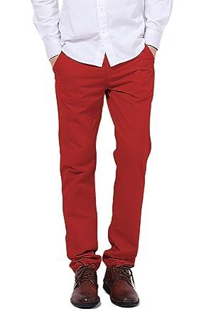 a89d7e52704bce Pantalon pour Homme Pantalon Chino Slim Décontracté Pantalon Bouton Pantalon  avec Poches Essentiel Poches De Pantalons