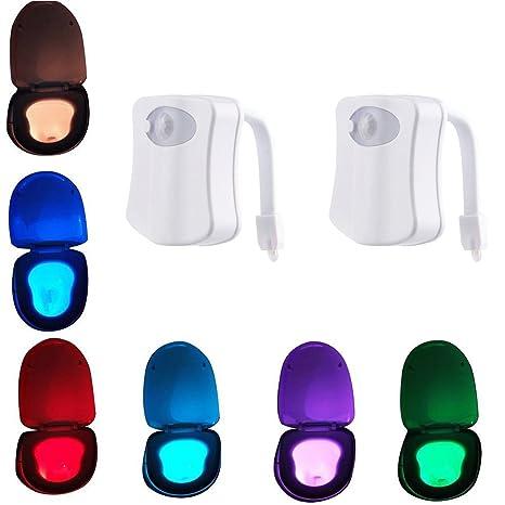 VIPMOON 2 Pack Colorido Sensor Movimiento Activado Luz de noche Batería-Operatred, 8 colores
