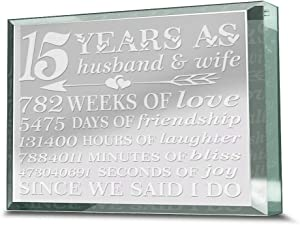 Bella Busta - 15 Years Anniversary Paperweight-15 years as Husband and Wife - Engraved Real Glass Paperweight Keepsake (3.5 x 4.5)