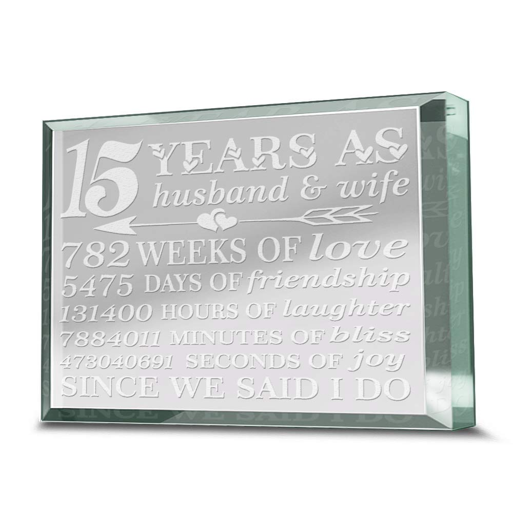 Bella Busta - 15 Years Anniversary Paperweight-15 years as Husband and Wife - Engraved Real Glass Paperweight Keepsake (3.5 x 4.5) by BELLA BUSTA