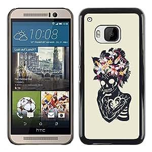 MobileHut / HTC One M9 / Floral Heart Skull Skeleton Spring / Delgado Negro Plástico caso cubierta Shell Armor Funda Case Cover