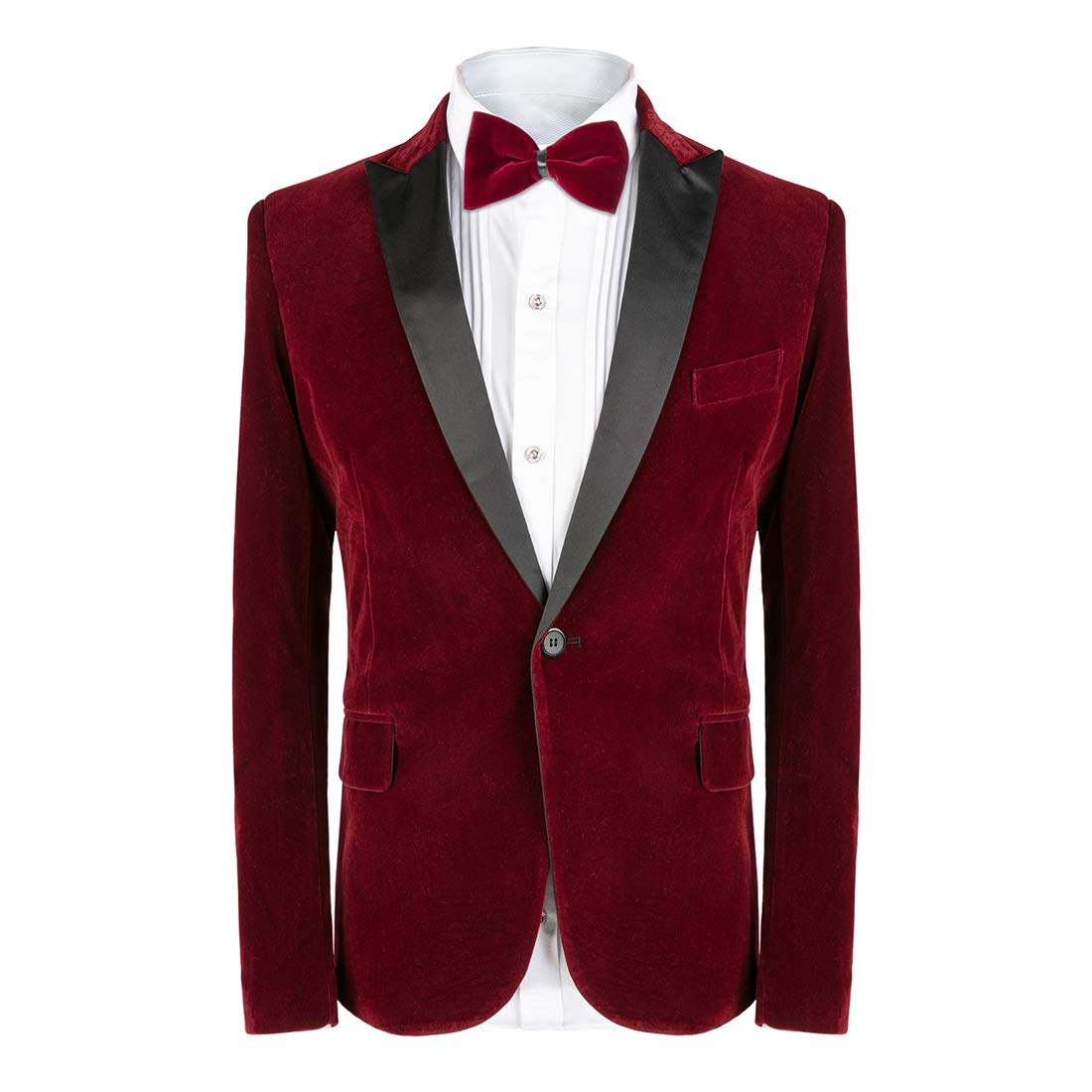 MAGE MALE Men's 2-Piece Suit Velvet Blazer Party Tuxedo Slim Fit One Button Stylish Dinner Jacket & Pants & Bow Tie by MAGE MALE