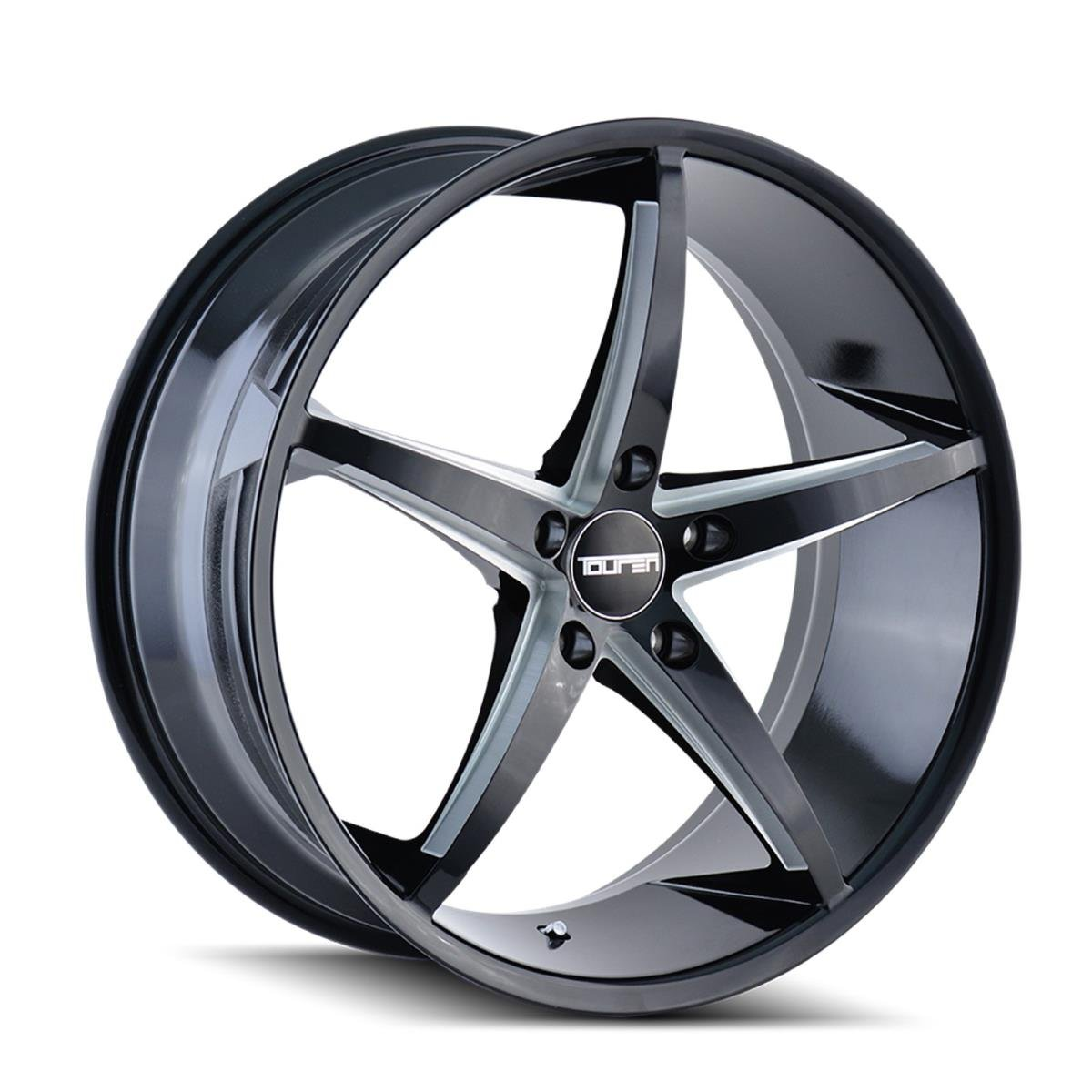 TOUREN TR70 Wheel with Black/Milled Spokes (17 x 7.5 inches /5 x 72 mm, 40 mm Offset) The Wheel Group 3270-7744B