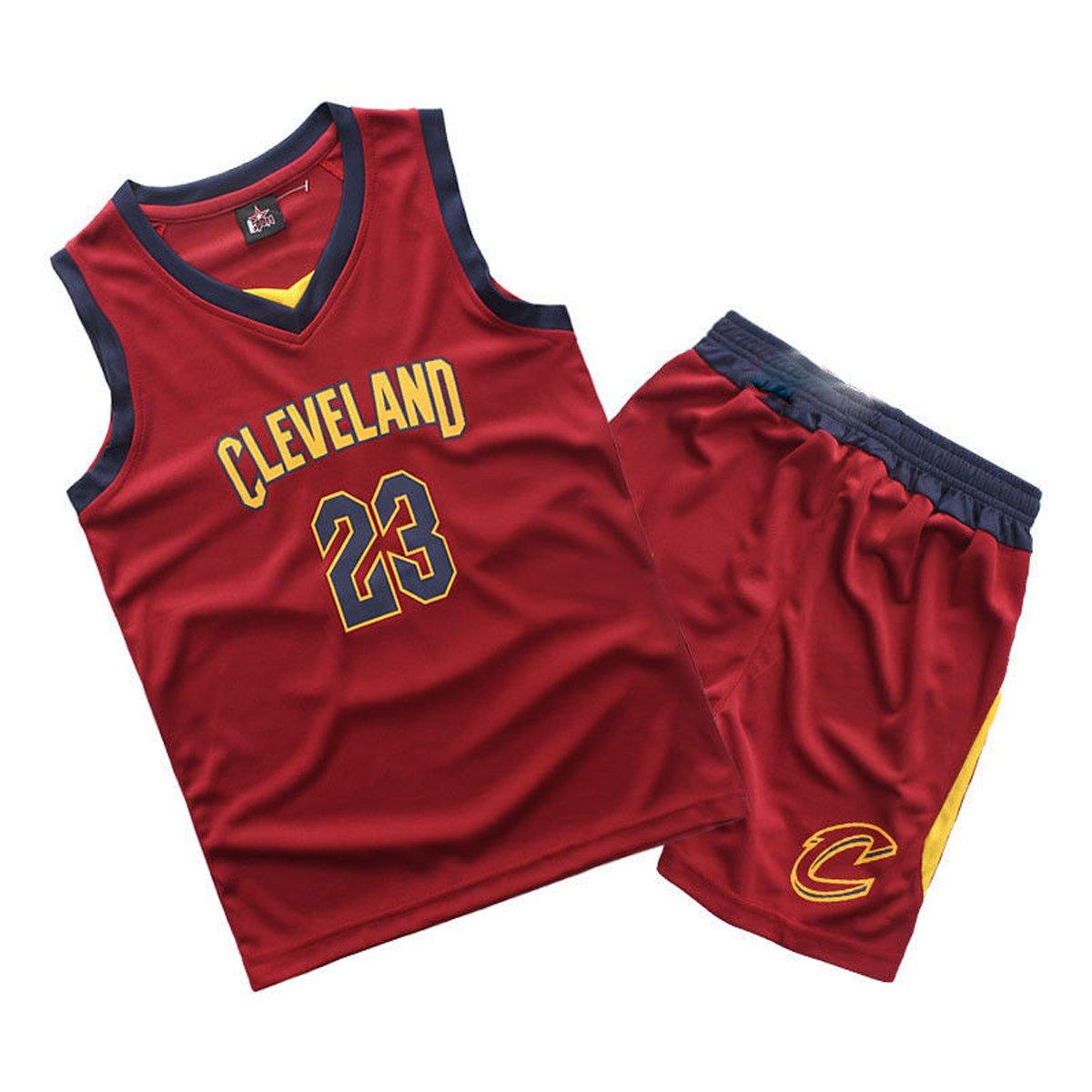 Kinder Jungen Cleveland Cavaliers Lebron James # 23 Basketball Shorts Sommer Jerseys Basketball Uniform Top und Shorts Basketball Anzug