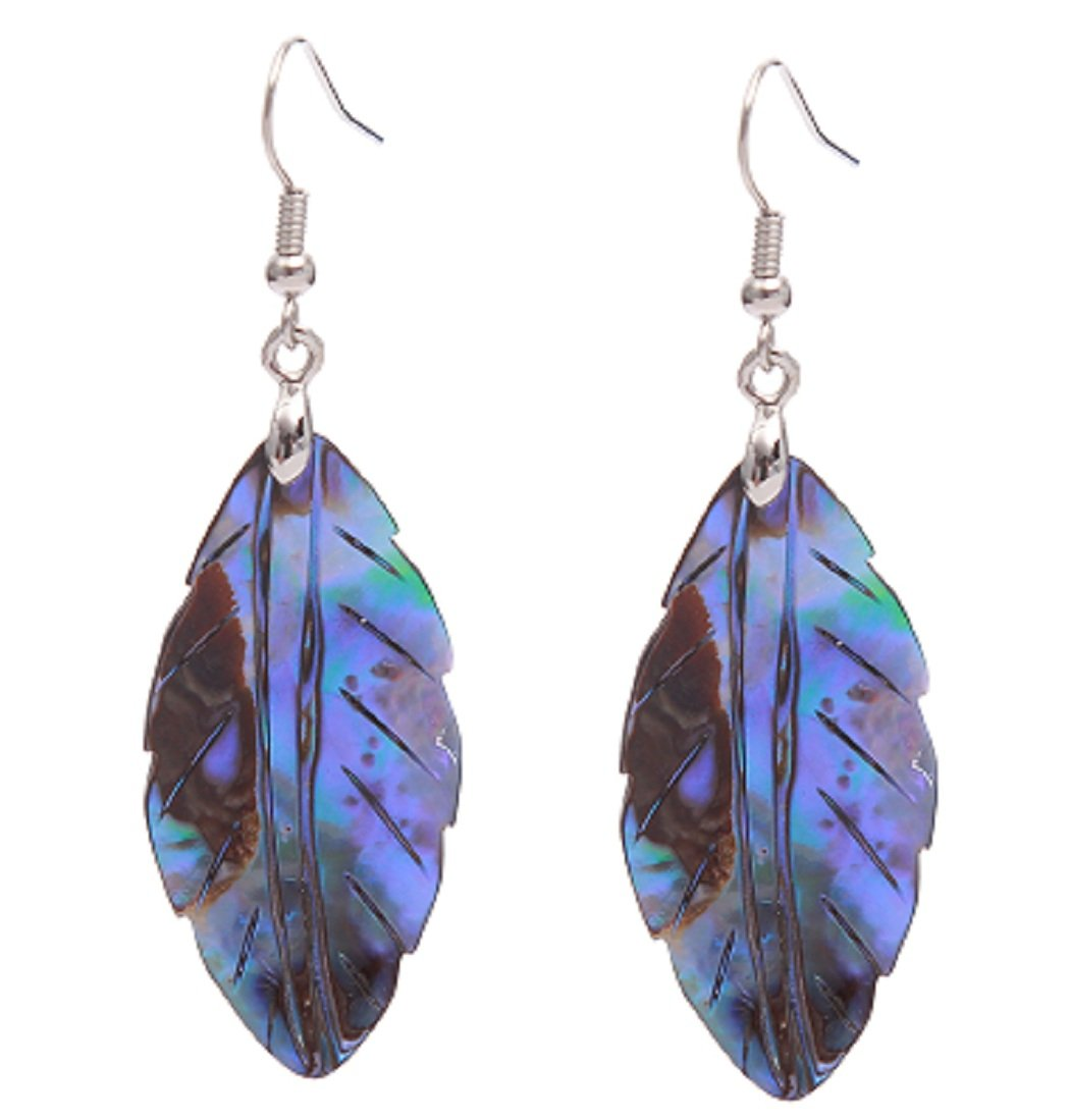 MagicYiMu Natural Abalone Shell Leaf Shape Drop Dangle Hook Earrings Jewelry for Women Girls Gift