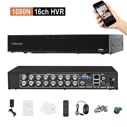 Amazon com: Evtevision 16CH 1080N AHD DVR Hybrid AHD+HVR+TVI+CVI+NVR