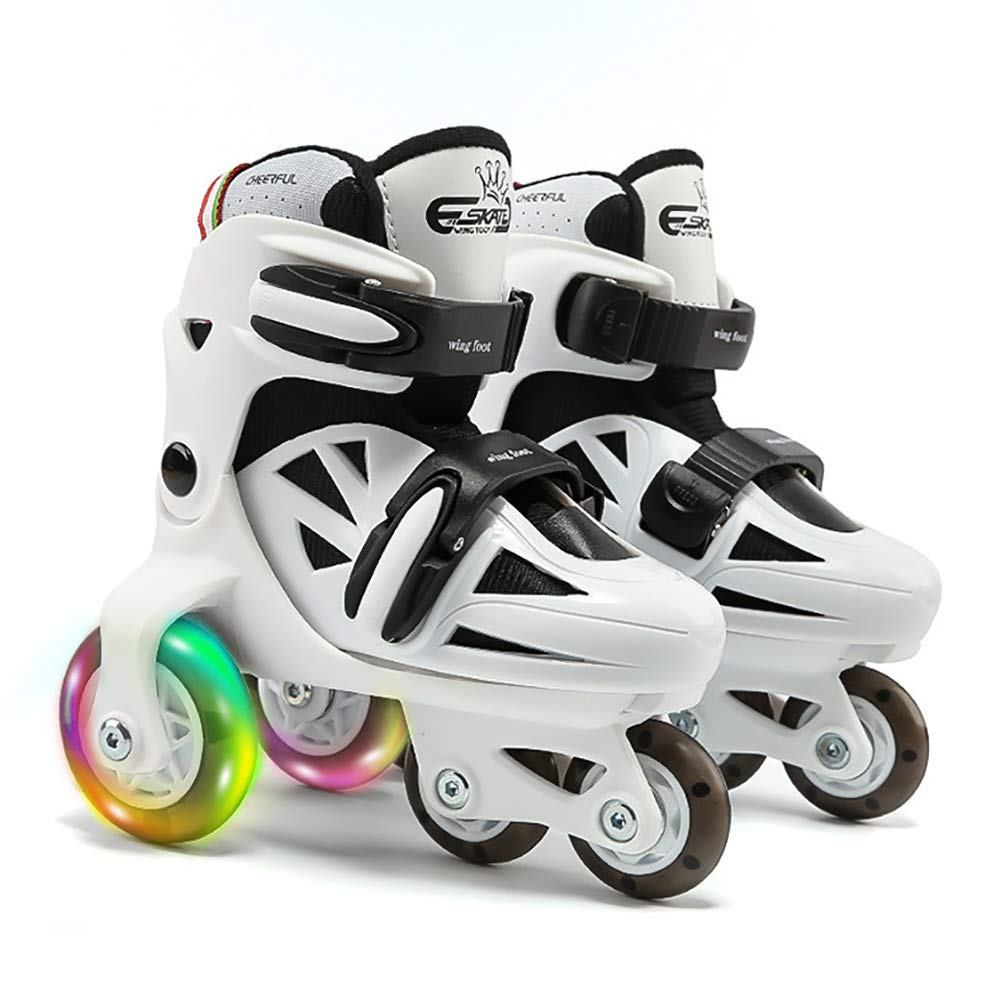 ONEKE Roller Skates for Kids Boys Girls Adjustable Rollerblades Outdoor Skating Shoes for Beginners Advanced Safe and Durable Rollerblades (Black White, US Little Kid 13M-2.5M)