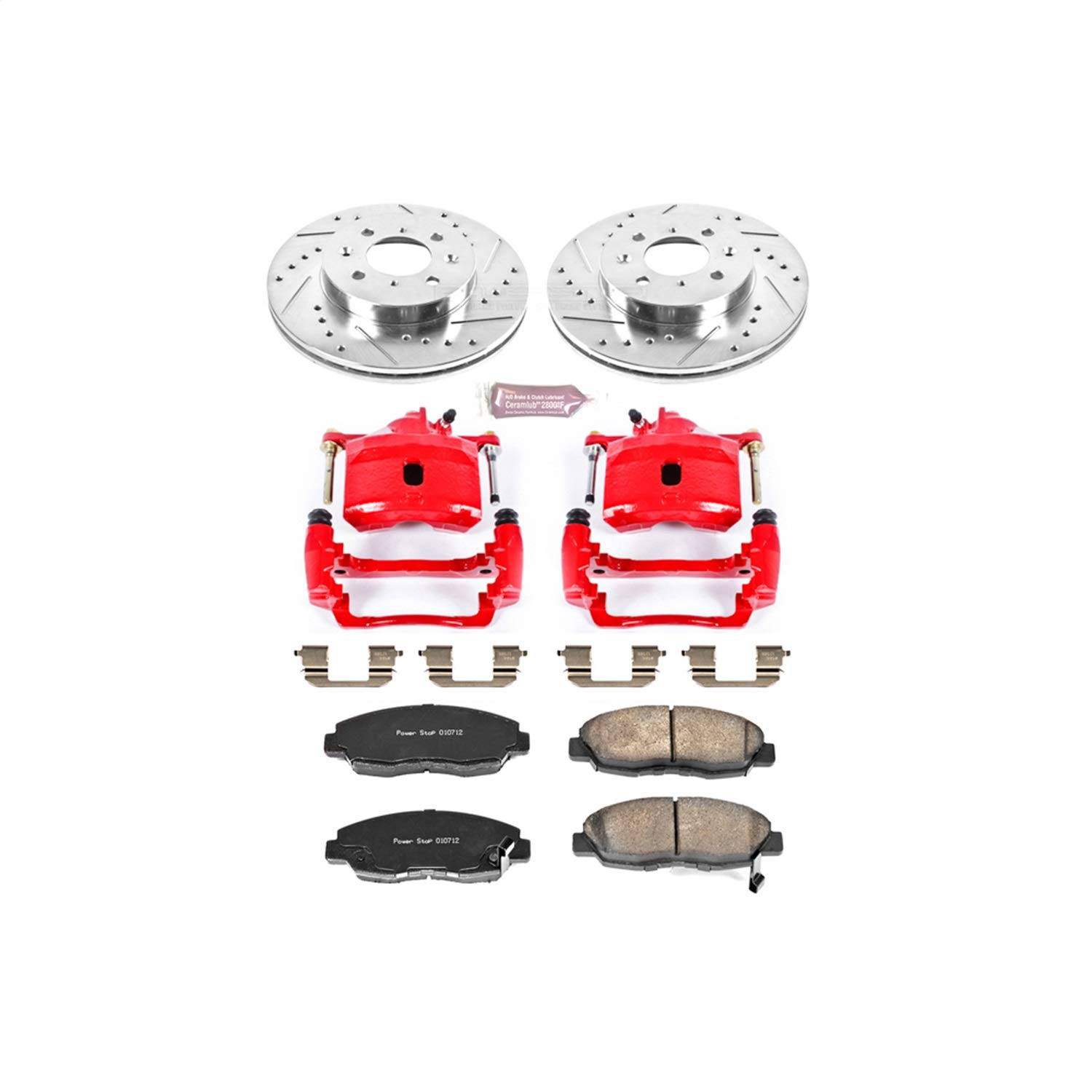 Power Stop KC690 1-Click Performance Brake Kit with Calipers, Front Only by POWERSTOP