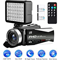 "Camcorder Video camera Full HD 1080P 30FPS 24.0MP Digital Vlogging Camera IR Night Vision YouTube Camcorders 16X Digital Zoom 3.0""IPS 270° Rotation Screen With Night Vision Fill Light"