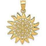 14k Yellow Gold Filigree Sun Pendant