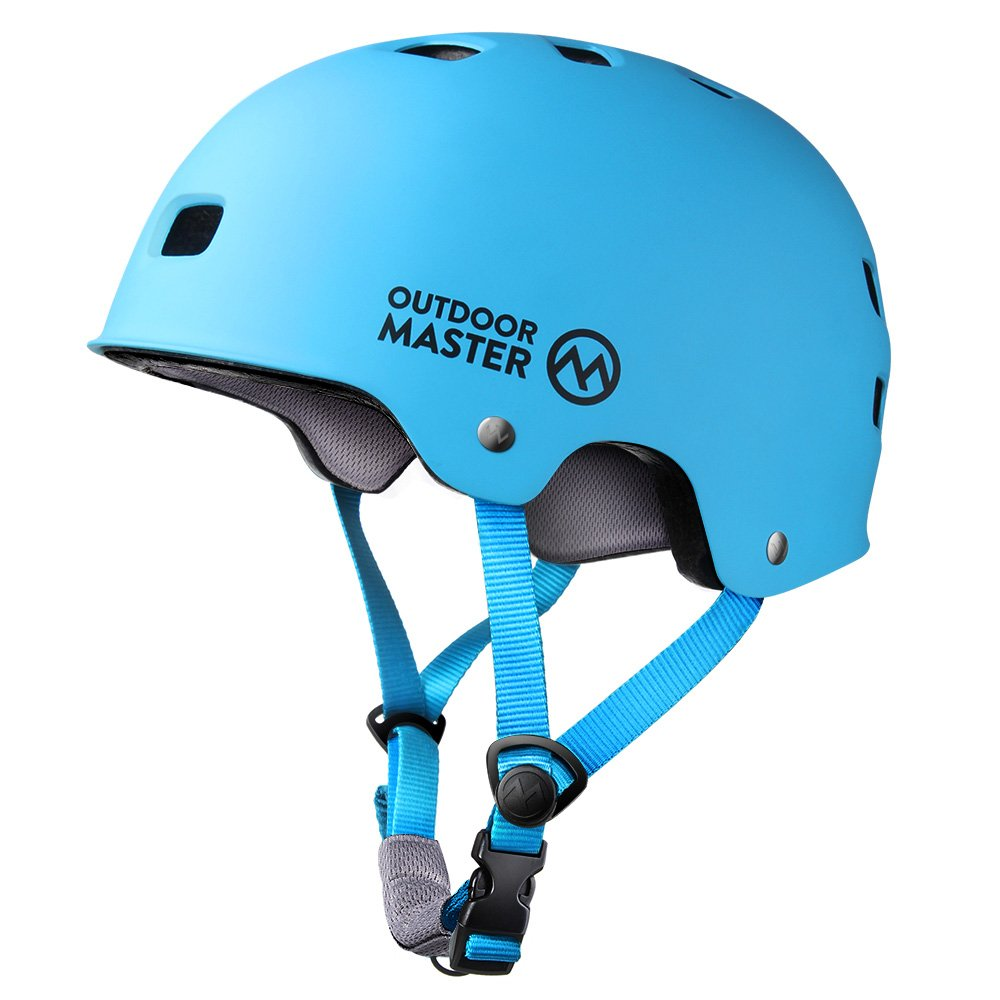 OutdoorMaster Skateboard Helmet - Lightweight, Low-Profile Skate Helmet & Removable Lining - 12 Vents Ventilation System - M - Blue