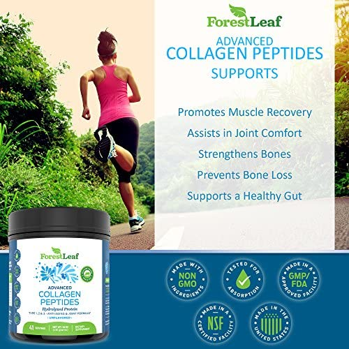 Advanced Hydrolyzed Collagen Peptides - Unflavored Protein Powder - Mixes Into Drinks and Food - Pasture Raised, Grass Fed - for Paleo and Keto; Joints and Bones - 41 Servings Collegen 4