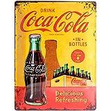 Targa in metalo 30 x 40 cm - Coca-Cola - In Bottles Yellow