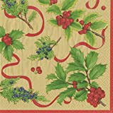Entertaining with Caspari 13931L Christmas Trimmings Paper Napkins, Luncheon, Gold