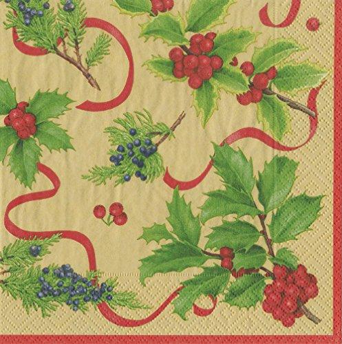 Entertaining with Caspari 13931C Christmas Trimmings Paper Napkins, Cocktail, (Christmas Cocktail)