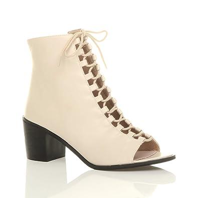 Women's Block Mid Heel Ghillie Peep Toe Ankle Boots Size