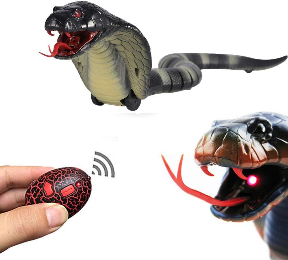 Feelfly Juguete de serpiente con control remoto para niños, 17 pulgadas recargable realista Naja Cobra RC serpiente juguete con lengüeta retráctil y cola oscilante, perfecto para Halloween (negro)