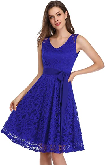 KOJOOIN Womens Dress Lace Vintage Prom Dresses Bridesmaid Evening Dresses High Waist A-line Swing Party Cocktail Dress