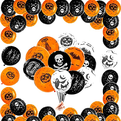 100 PCS Halloween Decoration Balloon Set, Happy Halloween Banner, Latex Balloons and Hanging Swirls for Halloween Bar Home Decor, Baby Shower, Birthday Party Accessory & Decoration