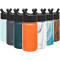 Simple Modern Insulated Water Bottle with Straw Lid Kids Reusable Wide Mouth Stainless Steel Flask Thermos, 14oz, Autumn