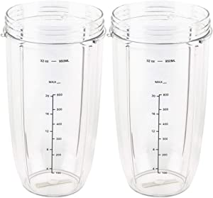 2 Pack 32 oz Tall Colossal Cup Replacement Part Compatible with NutriBullet 600W 900W Blenders NB-101B NB-101S NB-201