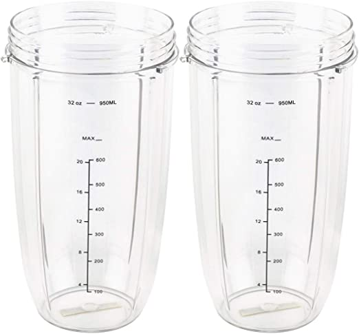 2 Pack NutriBullet Tall Oversized 32 OZ Mug Cup Replacement Parts
