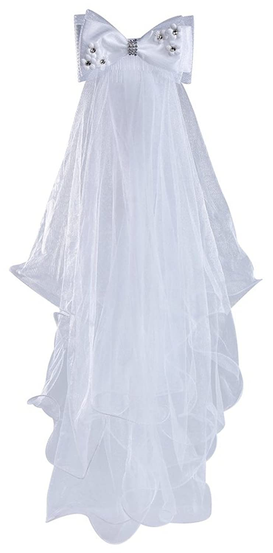 Dreamdress Girls Veils Bow Wedding Communion Headpiece Children Veil Hair