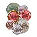 My Mind's Eye Trend Style Party Fans, 8 Count, Pink, Aqua, White, and Gold
