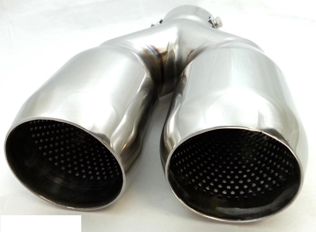 SPORT CHROME UNIVERSAL DUAL TWIN MUFFLER TIP TRIM EXHAUST TAIL PIPE FIT 35-60MM unbranded