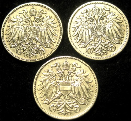 3 Coins - Austria World War I 1915 (1 ct) & 1916 (2 ct) 10 Heller Coins