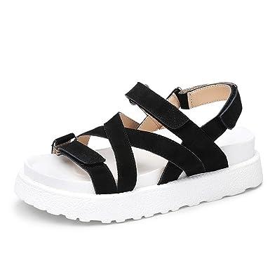 WXMDDN Sommer Sandalen Frauen Strandschuhe Dick Bottom Casual mit Romaniping Bottom Shoes Schwarz 37