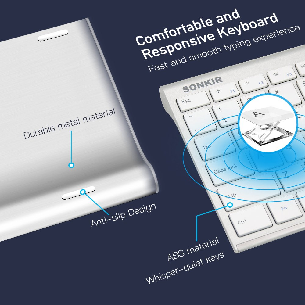 Wireless Keyboard Mouse, Sonkir K-18 2.4GHz Rechargeable Full Size Keyboard and Mouse Combo for Windows, Laptop, PC, Notebook (Silver)