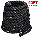1.5'' Poly Dacron 50ft/Black Battle Rope Workout Strength Training Undulation TKT-11