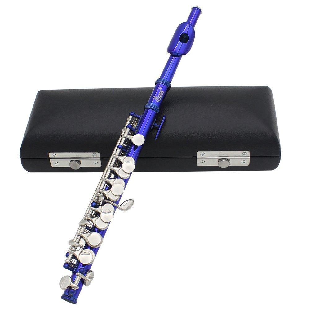 Andoer Piccolo Ottavino - Flautín, chapado, en clave de do, de cuproníquel, con grasa para corcho, paño de limpieza, destornillador y caja acolchada, azul de cuproníquel paño de limpieza
