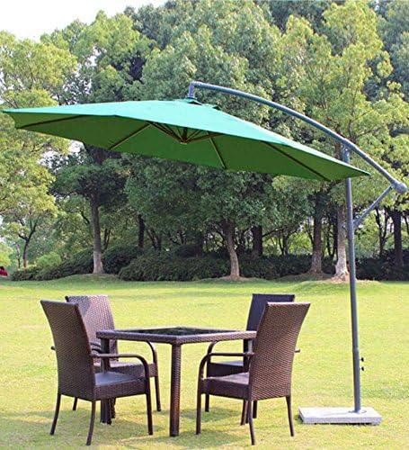 Goutime 10 ft Offset Patio Paraguas voladizo al Aire Libre Mercado para Colgar Paraguas y bielas con Cruz Base, 8 Varillas, Color Beige: Amazon.es: Jardín