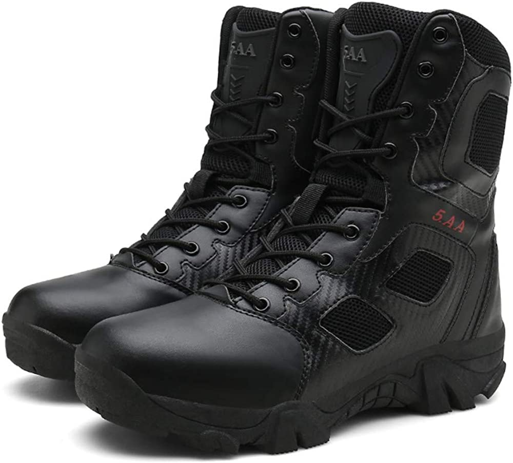 AIRAVATA Men's Outdoor Sports Hiking Side Zip Knife Pocket Lace Up Military Tactical Boots