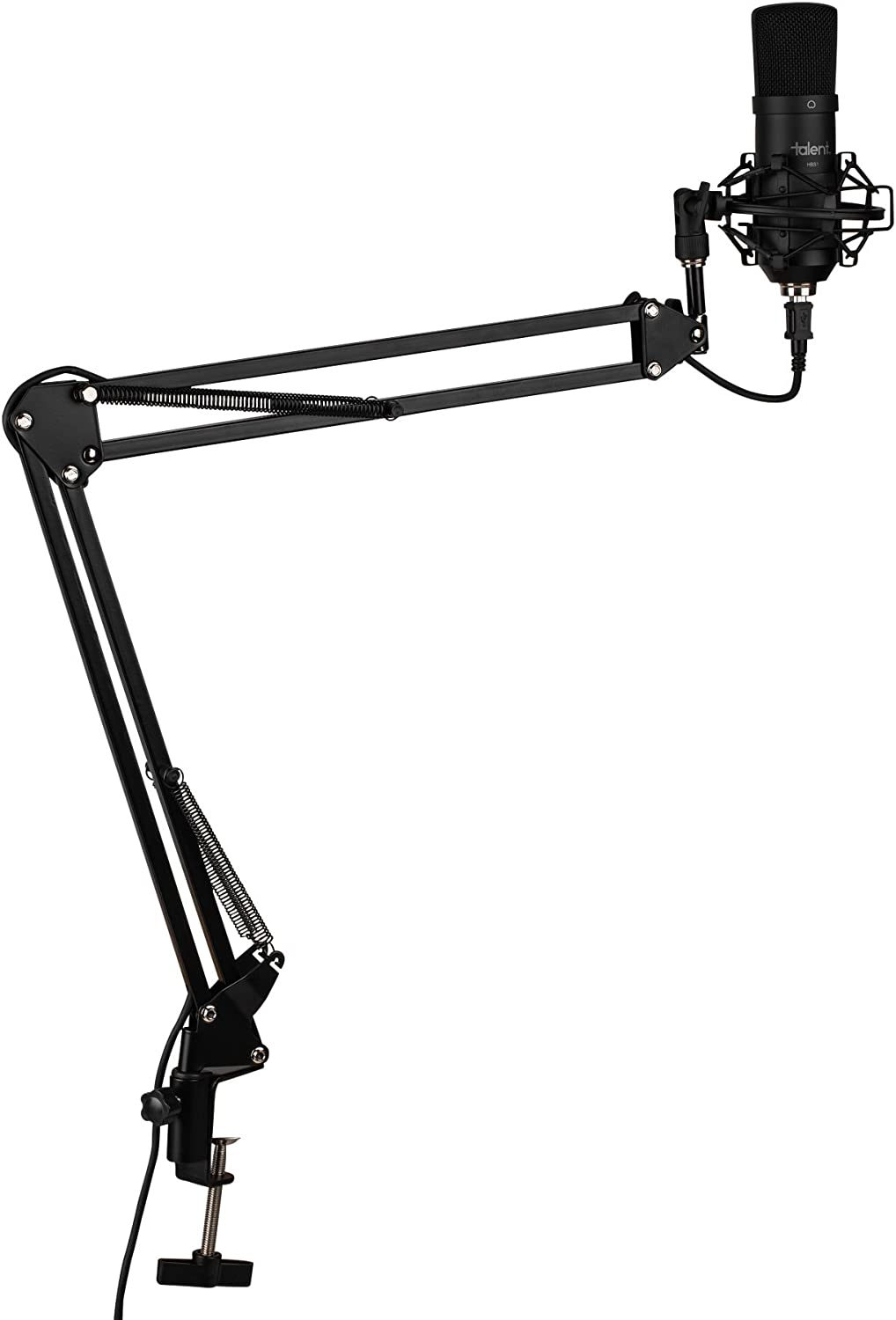 Shock Mount /& Pop Filter Talent HBS1 Plug and Play USB Microphone for Podcast with Suspension Boom