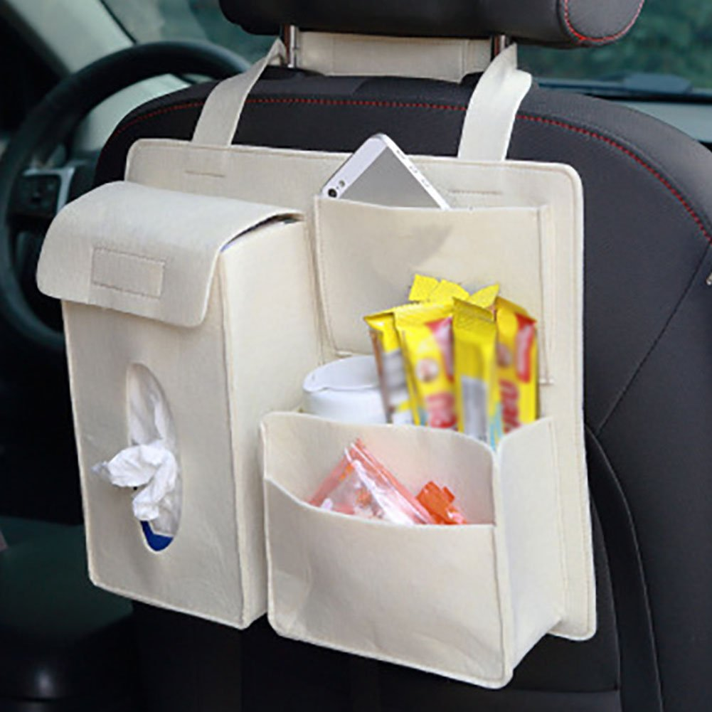 Schwarz Milopon Auto R/ückentasche Organizer des Autositzes mit mehreren taschen Auto-Aufbewahrungsbeutel Autositze Zubeh/ör 50x40cm