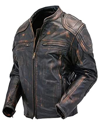 Vintage Leather Jacket >> Cafe Racer Quilted Distressed Vintage Motorcycle Leather Jacket For