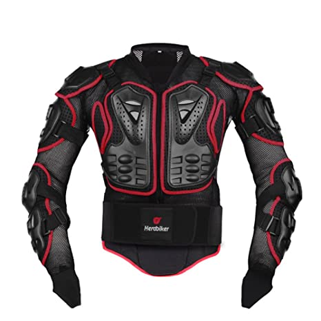 HEROBIKER Motorcycle Full Body Armor Jacket spine chest protection gear Motocross Motos Protector Motorcycle Jacket 2 Styles (XL, Red)